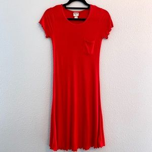 Mission Red Ribbed Knit Ruffle Pocket Shirt Dress
